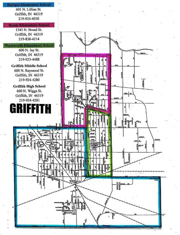 Map of Griffith showing boundry lines for each elementary school
